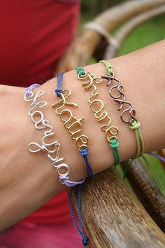 Wire name personalized friendship bracelet clover by SheBijouPl