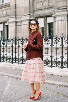 Classic Pink Skirt with Red Pullover