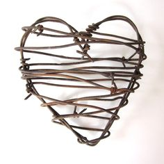 Barbed Wire Heart -Cowboy's Heart - rustic wedding decor love wedding gifts for him fathers day gifts metal heart