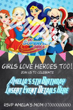 Dc Superhero Girls Invitation Super Hero Girls Invites In 2019