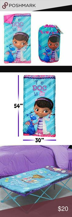 "Doc McStuffins Sleeping bag 54"" x 30"" my daughter only used once and quickly grew out of it. Like new! No tears, pulls or stains. Other"