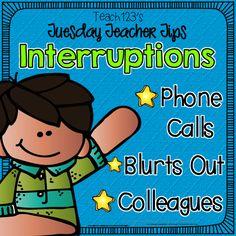 Interruptions, blurts out, and other distractions for teachers. #Free classroom management behavior help too! #Teach123 #TeachersFollowTeachers #BacktoSchool #NewTeacher