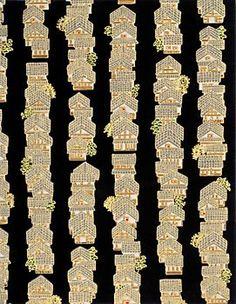 Yuzen Gold Houses on Black Fine Paper