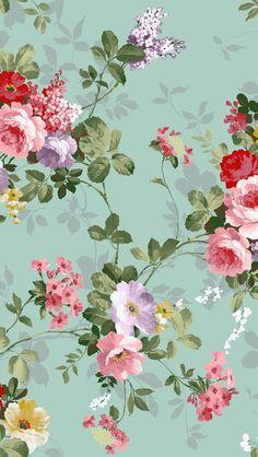 Aqua floral wallpaper