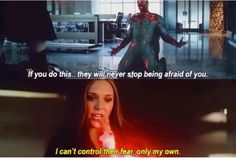 Vision and Wanda. This may be my favorite line in the movie. Three cheers for Wanda Maximoff - she chose the person she wanted to be and didn't let anyone stop her.
