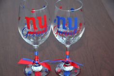 New York Giants Wine Glass by GameDayCheers on Etsy, $24.00 for the set 2 or $12.00 for 1