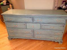 Duck Egg Dresser With Rope Hardware - Imperfect Patina