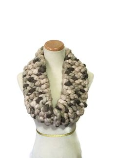 Super Bulky Cowl Chunky Scarf Tan Taupe Cowl by ArlenesBoutique