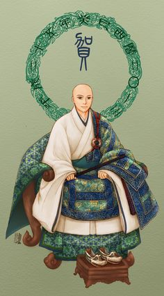 cartoon monk wearing o-kesa (袈裟; Sanskrit: kāṣāya, Chinese: jiāshā)