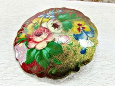 Vintage Hand-Painted Floral Brooch Pin, Red Yellow Blue Flower Brooch, 1980s Romantic Art Nouveau Victorian Jewelry, Gift for Mom Grandma by RedGarnetVintage