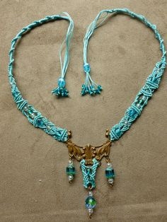 Micro Macrame necklace in Aqua with glass beads and brass filigree Handmade