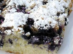 """Augustine bakery, check out """"blueberry boybait,"""" a crumb-cake square chockablock with berries and topped with a blanket of powdered sugar. Paula Deen, Powdered Sugar, Coffee Cake, Banana Bread, Cake Recipes, Blueberry, Bakery, Berries, Desserts"""