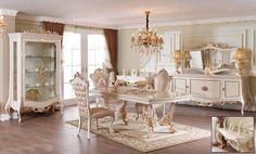 Mabella Lüks Klasik Yemek Odası Takımı.  #YemekOdası #DiningRoom #Decoration #Ev #Dekorasyon #Moda #Mobilya #Furniture