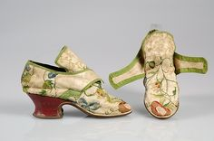 Shoes Date: 1740–59 Culture: British Medium: Silk, leather Credit Line: Brooklyn Museum Costume Collection at The Metropolitan Museum of Art, Gift of the Brooklyn Museum, 2009; Gift of Herman Delman, 1954 Accession Number: 2009.300.4739a, b