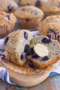 These Bakery Style Blueberry Muffins are filled with juicy blueberries that are swirled into a sweet batter and topped with a cinnamon streusel. Soft, moist, and bursting with flavor, these muffins are just as delicious as the ones that you would find at a bakery!