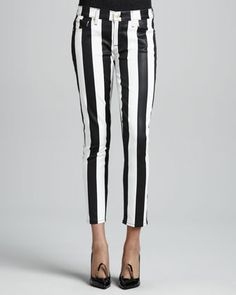 LINEAR THINKING: Say yes to Seven for All Mankind's striped jeans.
