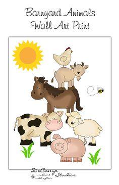 Barnyard Farm Animals Wall Art Print for baby girl boy nursery or any… Baby Prints, Wall Art Prints, Teen Wall Art, Kids Room Murals, Farm Pictures, Farm Quilt, Barnyard Animals, Country Quilts, Baby Boy Quilts