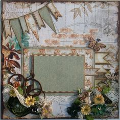Like the banners used on this. Premade Scrapbook Page 12 x 12, Shabby Chic, Vintage