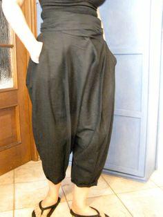 pantaloni in lino nero di LaSartoriaArtigiana su Etsy