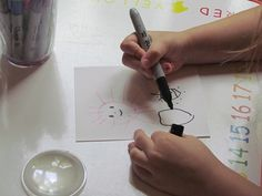 Magnifiers and bug drawings in preschool...