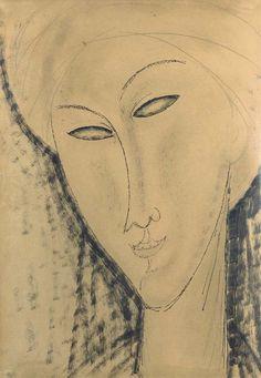 Tête de femme, Amedeo Modigliani. Italian (1884 -...