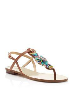 IVANKA TRUMP Fyona Embellished T Strap Sandals | Bloomingdale's