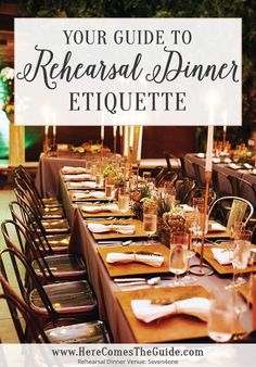 Rehearsal Dinner Etiquette debunked Find out who pays who you should invite whether you need ANOTHER cake and more about this pre-wedding tradition. The Dumbest Wedding Ideas Rehearsal Dinner Etiquette, Rehearsal Dinner Decorations, Rehearsal Dinner Invitations, Wedding Invitations, Etiquette Dinner, Rehearsal Dinner Wedding, Rehearsal Dinner Gift Ideas, Fall Rehearsal Dinners, Bachelorette Decorations