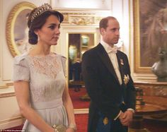 The Duchess of Cambridge wore the Cambridge Lover's Knot tiara when she attended the Diplo...