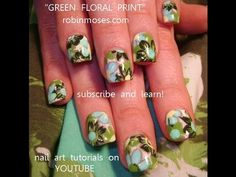 LIME AND MINT GREEN FLORAL PRINT DESIGN:robin moses nail art tutorial