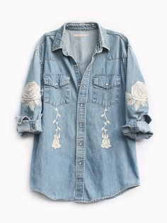 Bliss and Mischief The Conjure Flower Embroidered Denim Shirt