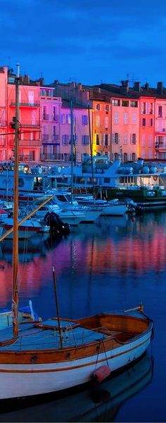 Saint Tropez, France at night.