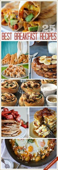 25 BREAKFAST RECIPES - These are the best breakfast recipes ever. Easy to make and perfect for breakfast, brunch or breakfast for dinner. Breakfast And Brunch, Delicious Breakfast Recipes, Breakfast Dishes, Brunch Recipes, Yummy Food, Breakfast Ideas, Best Breakfast Meals, Recipes Dinner, Breakfast Pizza