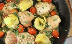 This tomato & artichoke chicken dinner has only 5 ingredients and took about 2 minutes to assemble and throw in the oven. Plus, you can cook the entire thing in a cast iron pan!
