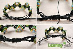 Finish the adjustable macramé beaded bracelets tutorial