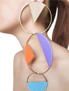 SYLVIO GIARDINA - COLLEZIONE THREE (3) BIG CIRCLE EARRINGS - BOUCLES D'OREILLES - MULTICOLORE - LUISAVIAROMA
