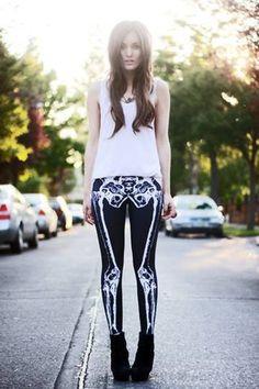 pants skeleton black emo bones leggings skinny jeans