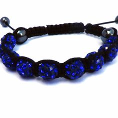 Sparkly Crystals Hand Made Shamballa - Blue Crystal and Hematite Shamballa Bracelet