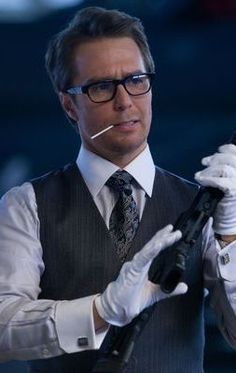 """Justin Hammer played by Sam Rockwell. Introduced in the 2010 film """"Iron Man 2."""""""