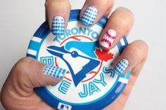 Syl and Sam: tutorial - baseball nails Get Nails, How To Do Nails, Hair And Nails, Nice Nails, Fancy Nails, Baseball Nail Art, Softball Nails, Baseball Memes, Baseball Boys