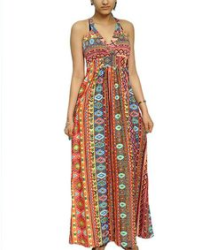 Take a look at this Orange Tribal V-Neck Maxi Dress - Women by Shoreline Wear on #zulily today!