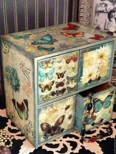 Купить Голубые бабочки, мини-комод, декупаж - миникомодик, голубой, голубой комодик, мини-комод