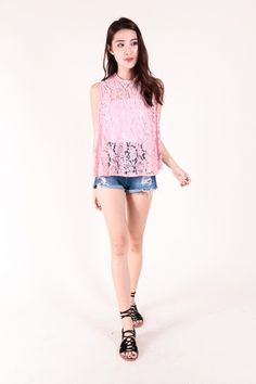 Lace Flare Top (Pink)  $28