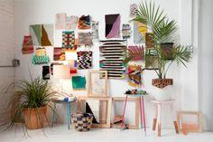 collagevägg i textil