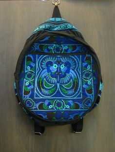 Trendy Thai Hill Tribe Embroidered Backpack in Blue | Sure Design. $22 http://www.suredesigntshirts.com/