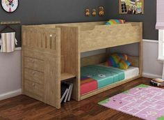 Mars Bunk Bed - Midi Sleeper  The Mars Bunk bed is a Kids Bunk Bed an awesome space saving midi  sleeper which isnt too high from the ground together with beautiful easy climb stair case which comprises storage.  The Mars Bunk is a single top bunk over a single bunk. The single bottom bunk can be pulled out/ converted into a double bed under if required.  The Mars Bunk Bed is made from MDF material.  The Mars Bunk bed comes in Oak and White Colour.  Mars Bunk Measurements Single - Width…