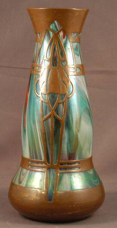 Art Nouveau Bohemian glass vase with copper overlay.