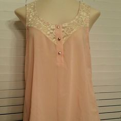 ✓NWT ✿ GORGEOUS TOP. Blush pink color with the most adorable pleated back ever!! Lace accent at the top of the blouse with gem shimmery buttons (3 buttons with an extra one attached in a little baggie!) Rue 21 Tops