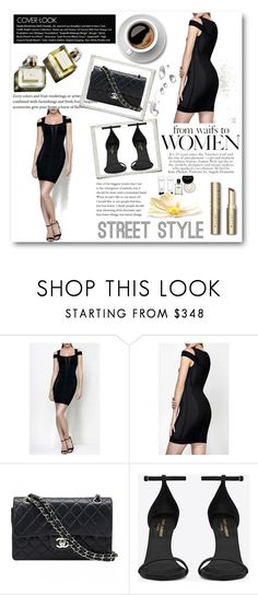 """Legerbabe Evanne Multi-Texture Mesh Dress"" by legerbabedress ❤ liked on Polyvore featuring Chanel, Yves Saint Laurent, Bobbi Brown Cosmetics and Garance Doré"