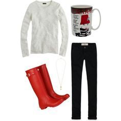 Simple top, black #jeans, and #rainboots. I love red #wellies.