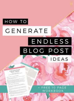 Generating blog post ideas has never been easier. Come up with endless blog post topics without the stress and creative block that we often talk about in blogging! Check this out and also download your FREE 10 page workbook!